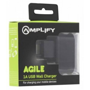 Amplify AM60051ABLK Agile Series Black Single USB 1A Wall Charger