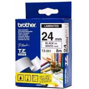 Brother MTZ251 24mm Black On White Laminated Tape - 8m