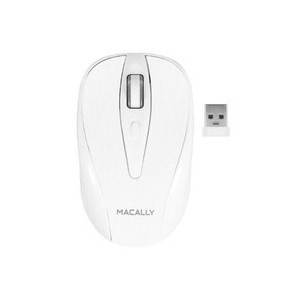Macally RFTURBO Wireless 3 Button Optical RF Mouse for Mac/PC - White