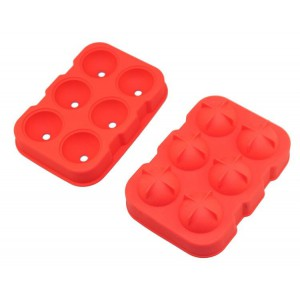 Gin Tribe J8_37 - 6 Giant Ball Boulders for Gin Ice Ball Tray - Red