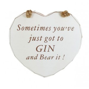 Gin Tribe I4_71 - Gin Heart Plaque - Gin and Bear It