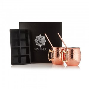 Gin Tribe GT-GGB-007 - Gift Box - Consists Of : 2 X Moscow Mule 1 X Black Ice Tray 2 X Copper Straws