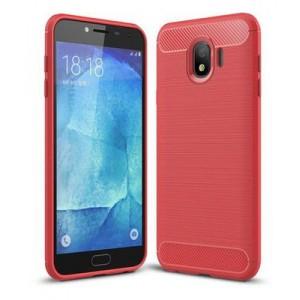 Tuff-Luv D3_114 Brushed Texture Carbon Fiber Shockproof Cover for Samsung J4 (2018) - Red