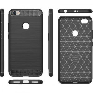 TUFF-LUV Xiaomi Redmi Note 5A Carbon Fibre Style Shockproof and Rugged Case - Black