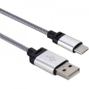 Tuff-Luv J9_31 USB 3.1 Type-C to USB 2.0 Woven Data and Charge Cable - Silver