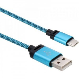 Tuff-Luv J9_34 USB 3.1 Type-C to USB 2.0 Woven Data and Charge Cable - Blue