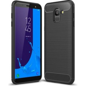 Tuff-Luv A1_114 Carbon Fibre Style Shockproof Cover for Samsung J6 2018 - Black
