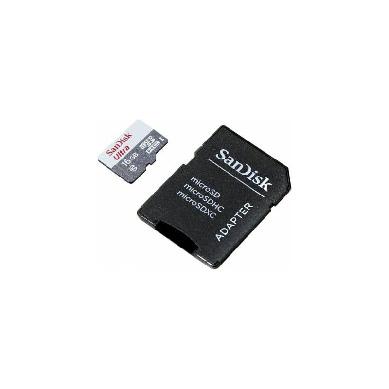 Sandisk SDSQUNS016GGN3MA Ultra Android 16gb 80mb/s Class 10 MicroSDHC + SD Adapter