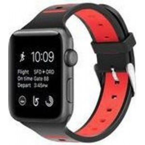 Tuff-Luv A10_78 Strap and Face Cover for Apple Watch Series 1/2/3 - Black and Red