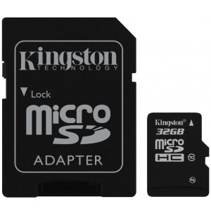 Kingston 8GB microSDHC Memory Card Class 10 With SD Adapter