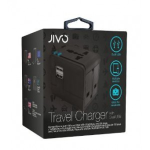 Jivo JI-1923 World Travel Adapter with Dual USB- Black