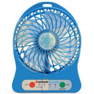 Zartek ZA-100-BLU Breez Rechargeable Mini Fan–Blue,Portable,USB Rechargeable