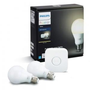 PHILIPS Hue Starter KIT -  Smart Bridge Hub + 2 White Bulbs - Compatible with Amazon Alexa, Apple HomeKit and Google Assistant