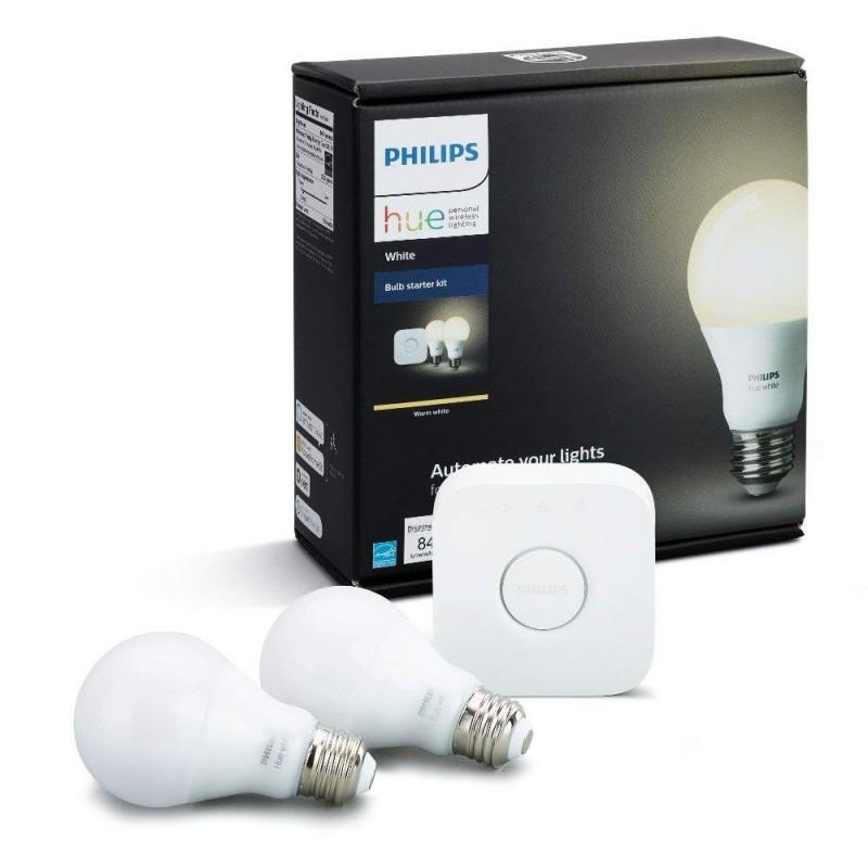 PHILIPS Hue Starter KIT - Smart Bridge Hub + 4 White Bulbs - Compatible  with Amazon Alexa, Apple HomeKit and Google Assistant - GeeWiz