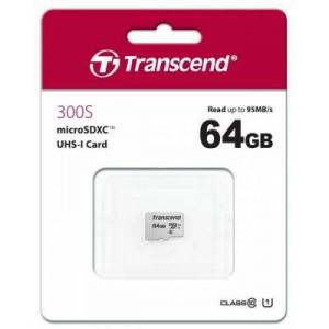 Transcend TS64GUSD300S 300S 64GB MicroSDXC/SDHC Class 10 UHS-I U1 Memory Card