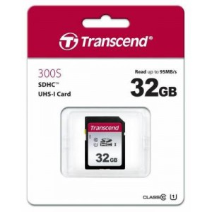 Transcend TS32GSDC300S 300S 32GB SDHC Class 10 UHS-I U1 Memory Card