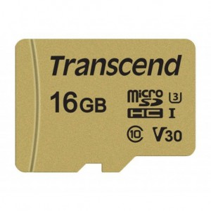 Transcend TS16GUSD500S 500S 16GB MicroSDXC/SDHC Class 10 V30 Memory Card With Adaptor