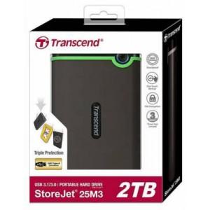 """Transcend TS2TSJ25M3S StoreJet 25M3 Series Iron Grey 2TB 2.5"""" External HDD"""