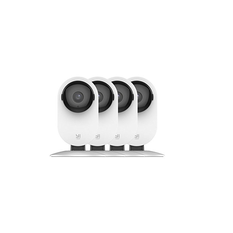 YI White Smart Home Static 1080P 8MP Micro SD Slot Camera with Audio - 4 Pack