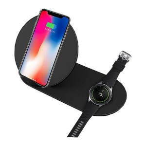 TUFF-LUV 2 in 1 Fast Wireless Apple iPhone Charger + Apple watch - Black